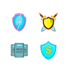 Shield icon set cartoon style vector