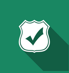 Shield with check mark icon isolated vector
