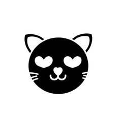 silhouette enamored cat head cute animal vector image