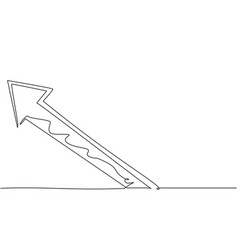 single continuous line drawing rising arrow up vector image