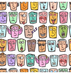 Sketch emoticons seamless pattern vector image