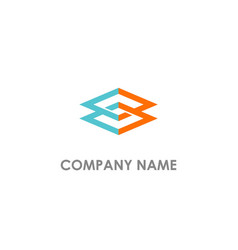 Square connect geometry company logo vector
