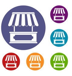 street kiosk icons set vector image
