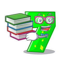 Student with book number seven isolated on the vector