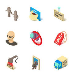 superstore icons set isometric style vector image
