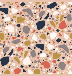 terrazzo seamless pattern with colorful chips vector image