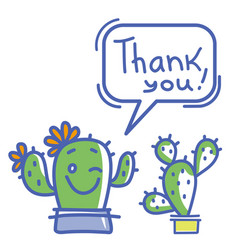 thank you card with cute cactuses succulent and vector image