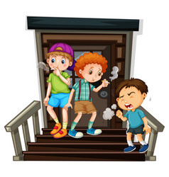 three boys smoking cigarette on stairs vector image
