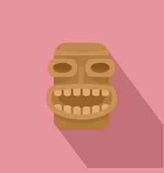 Tiki wood icon flat style vector