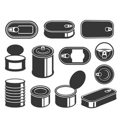 tin cans black glyph icons set vector image