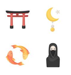Torii carp koi woman in hijab star and crescent vector