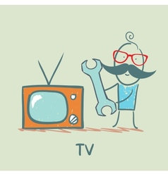 TV repair man vector