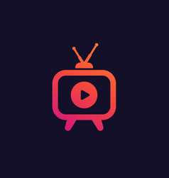 tv with antenna icon vector image