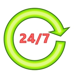 Twenty four seven icon flat style vector image