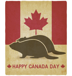 two silhouettes beaver on canadian flag vector image