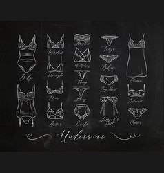 Underwear classic icons chalk vector
