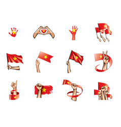 vietnam flag and hand on white background vector image