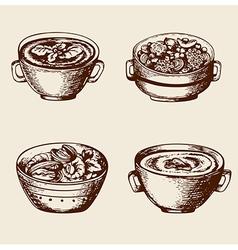 Vintage hand drawn soup vector
