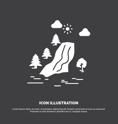 Waterfall tree pain clouds nature icon glyph vector