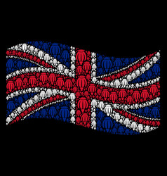 Waving great britain flag mosaic of opium poppy vector