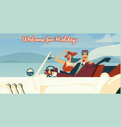 welcome for holidays retro vector image