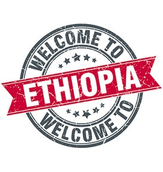 Welcome to Ethiopia red round vintage stamp vector