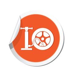 wheel pump icon orange sticker vector image