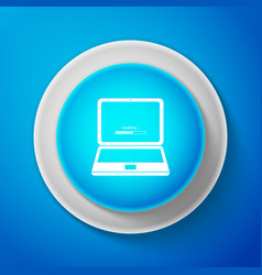 white laptop update process with loading bar icon vector image