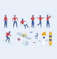 winter sportsman male with skii and snowboard set vector image