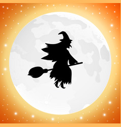 witch with on a broomstick for halloween against vector image