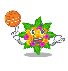 With basketball lantana flowers in the mascot pots vector