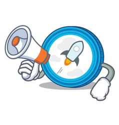With megaphone stellar coin character cartoon vector