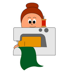 Woman seamstress on white background vector