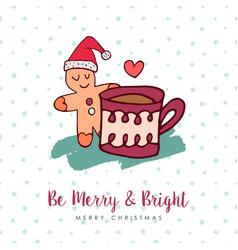 christmas cute gingerbread man holiday cartoon vector image vector image