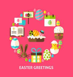 easter greetings postcard vector image vector image
