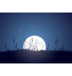 grassy moonrise vector image vector image