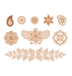 henna flowers and paisley vector image vector image