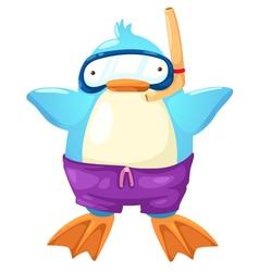 penguin scuba diver vector image vector image