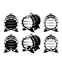 Set of vintage wooden barrels in different vector image vector image