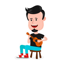 young happy smiling man hipster singing vector image