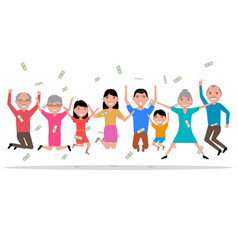 cartoon happy people received the money vector image