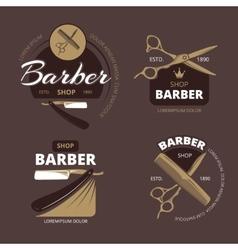 Color barber shop logo labels and badges vector image vector image