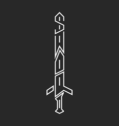 Sword logo hipster lettering graphic design thin vector image vector image