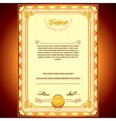 Golden Certificate Background vector image vector image