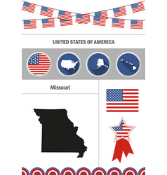 map of missouri set of flat design icons vector image vector image