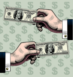 right and left hands with the 100 dollars bank vector image vector image