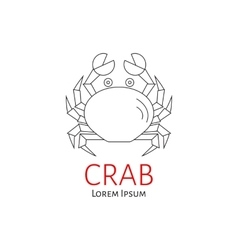 Crab flat line vector image vector image
