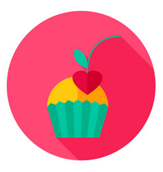 cupcake with cherry circle icon vector image