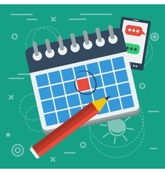 flat calendar icon and pencil vector image