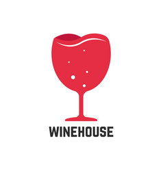 wine house logotype with red wineglass vector image vector image